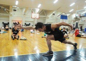 Tony Horton, apparently showing off for the Navy (source)